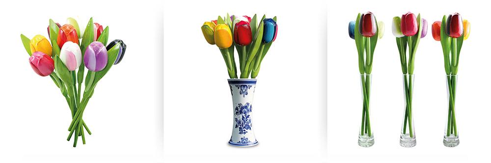 tulpboeketten en in vaas